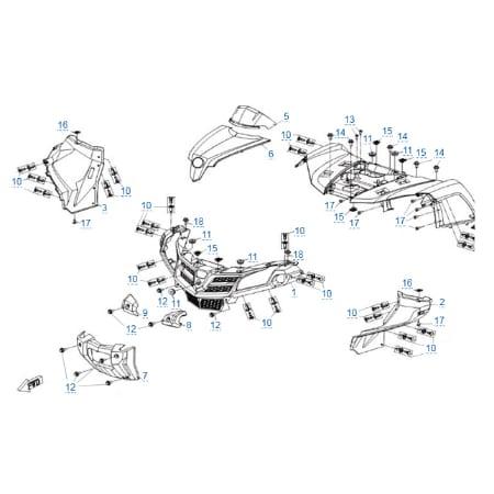 Пластиковые детали 1 для CFMOTO X4 Basic