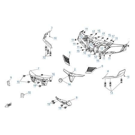 Пластиковые детали 1 для CFMOTO X8 H.O. EPS