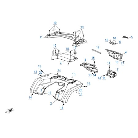 Пластиковые детали 4 для CFMOTO X8 H.O. EPS