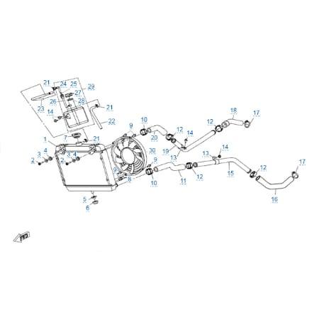 Система охлаждения двигателя для CFMOTO X4 Basic