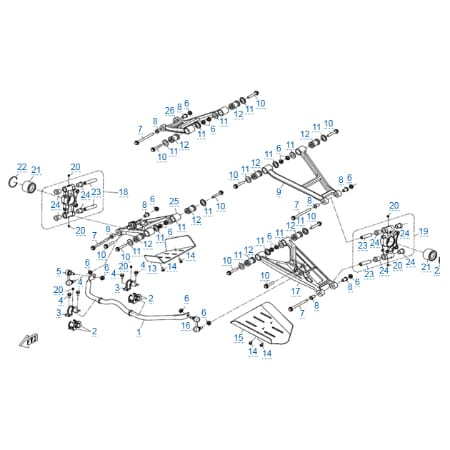 Задняя подвеска (алюминиевые рычаги) v2 для CFMOTO X6 EFI