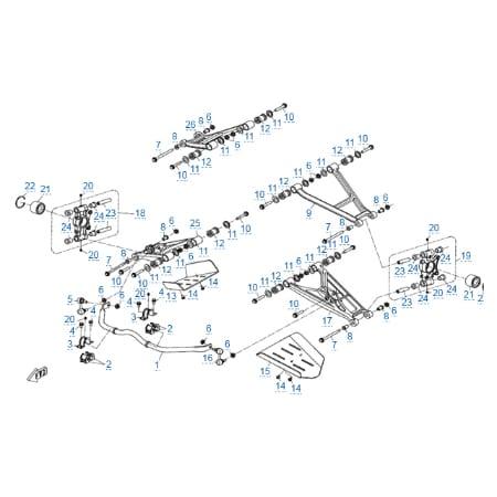 Задняя подвеска (алюминиевые рычаги) v2 для CFMOTO X8 EFI&EPS