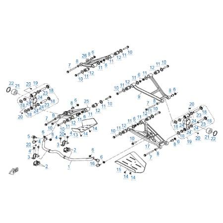 Задняя подвеска (алюминиевые рычаги) для CFMOTO X5 H.O. EFI&EPS