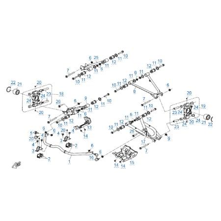 Задняя подвеска (стальные рычаги) v2 для CFMOTO X5 Basic