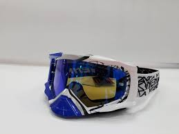Очки кроссовые NENKI 1020 Mirror (Blue/White) зеркальная линза N1020_BW_Mr