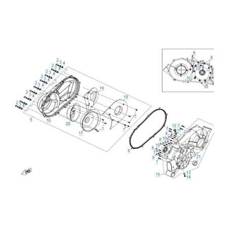 Корпус вариатора v2 двигателя 2V91W-A