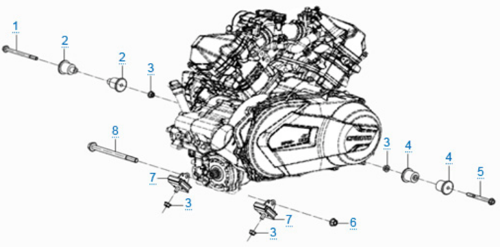 Элементы крепления двигателя для ZFORCE 1000 SPORT EPS