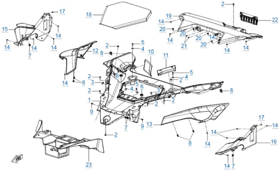 Пластиковые детали 2 для ZFORCE 1000 SPORT EPS