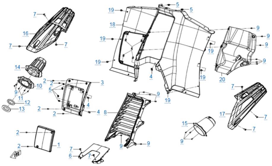Пластиковые детали 6 для ZFORCE 1000 SPORT EPS