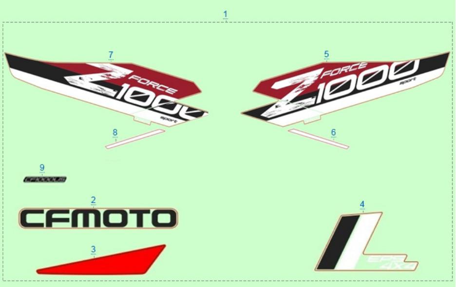 Расположение стикеров (красный) для ZFORCE 1000 SPORT EPS