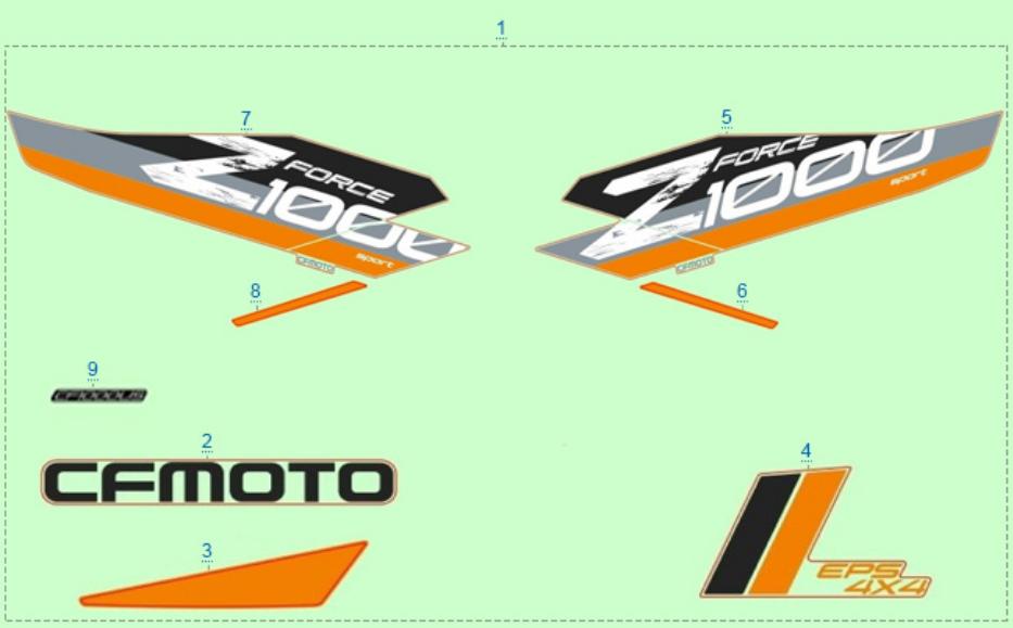 Расположение стикеров (серый) для ZFORCE 1000 SPORT EPS